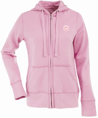 New York Mets Womens Zip Front Hoody Sweatshirt (Color: Pink)