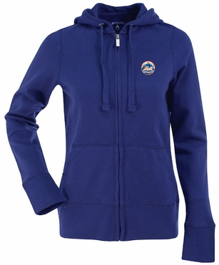 New York Mets Womens Zip Front Hoody Sweatshirt (Team Color: Royal)