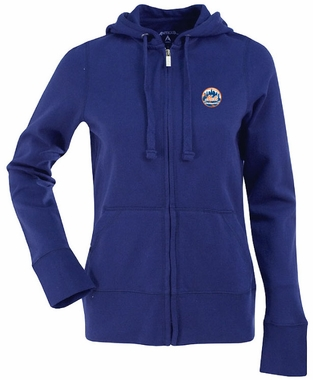 New York Mets Womens Zip Front Hoody Sweatshirt (Color: Royal)