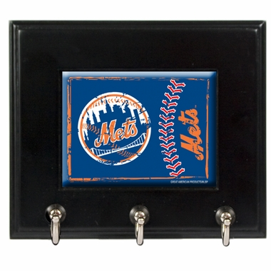 New York Mets Wooden Keyhook Rack