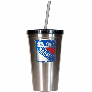 New York Rangers 16oz Stainless Steel Insulated Tumbler with Straw