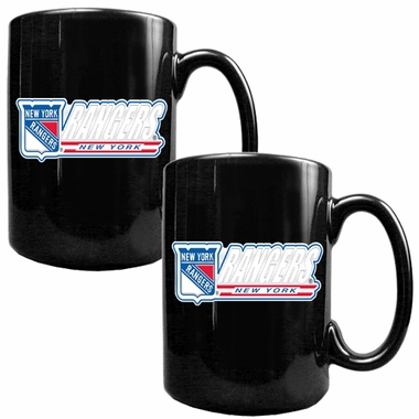 New York Rangers 2 Piece Coffee Mug Set (Wordmark)