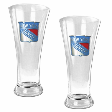 New York Rangers 2 Piece Pilsner Glass Set
