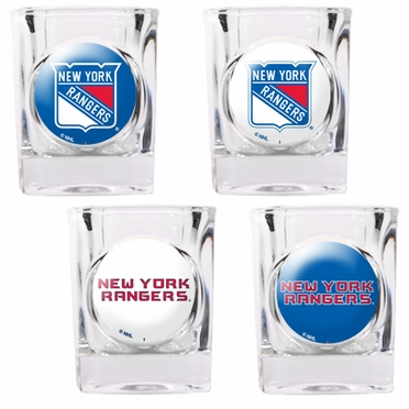 New York Rangers 4 Piece Assorted Shot Glass Set
