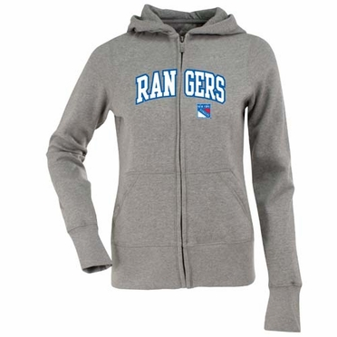 New York Rangers Applique Womens Zip Front Hoody Sweatshirt (Color: Gray)