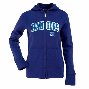 New York Rangers Applique Womens Zip Front Hoody Sweatshirt (Color: Royal)