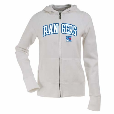 New York Rangers Applique Womens Zip Front Hoody Sweatshirt (Color: White)