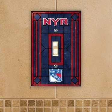 New York Rangers Art Glass Lightswitch Cover