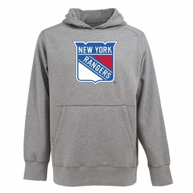 New York Rangers Big Logo Mens Signature Hooded Sweatshirt (Color: Gray)
