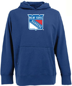 New York Rangers Big Logo Mens Signature Hooded Sweatshirt (Team Color: Royal) - Small