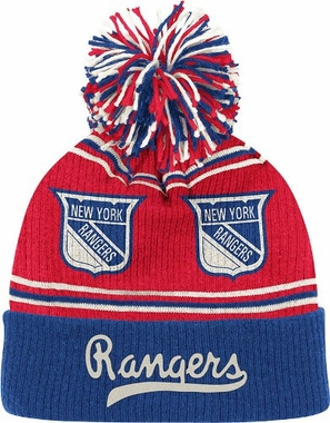 New York Rangers CCM Repeating Logo Cuffed Pom Knit Hat