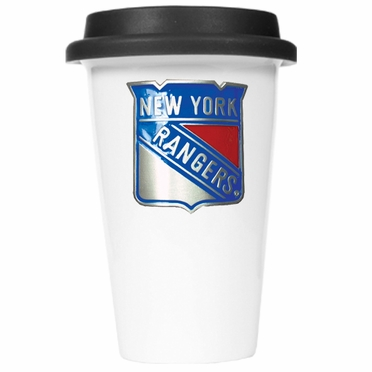 New York Rangers Ceramic Travel Cup (Black Lid)