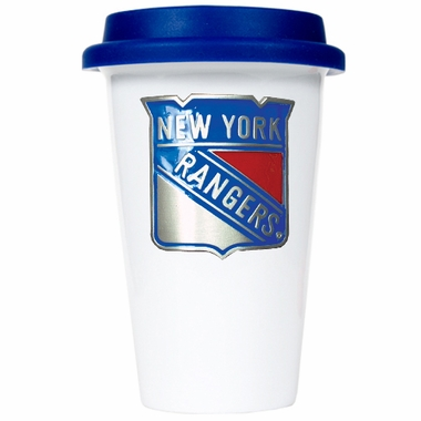 New York Rangers Ceramic Travel Cup (Team Color Lid)