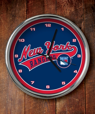 New York Rangers Chrome Clock