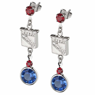 New York Rangers Crystal Logo Dangle Earrings