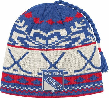 New York Rangers Jacquard Pattern Hocky Stick Tassel Cuffless Knit Hat