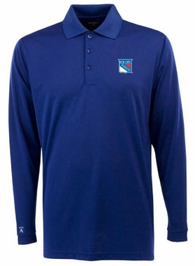 New York Rangers Mens Long Sleeve Polo Shirt (Team Color: Royal)