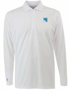 New York Rangers Mens Long Sleeve Polo Shirt (Color: White) - Large