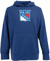 New York Rangers Mens Big Logo Signature Hooded Sweatshirt (Team Color: Royal) - XXX-Large