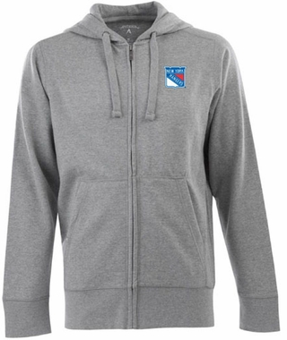 New York Rangers Mens Signature Full Zip Hooded Sweatshirt (Color: Gray)