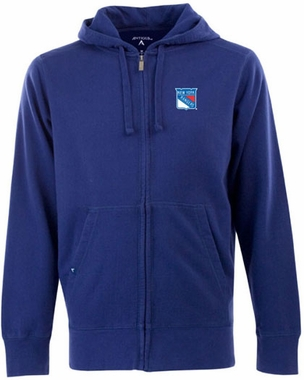 New York Rangers Mens Signature Full Zip Hooded Sweatshirt (Team Color: Royal)
