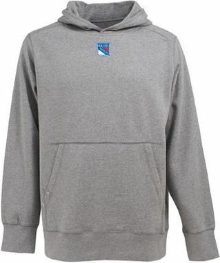 New York Rangers Mens Signature Hooded Sweatshirt (Color: Gray)