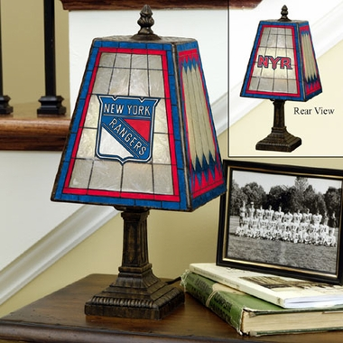 New York Rangers Small Art Glass Lamp