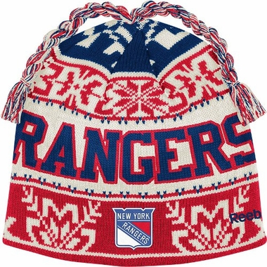 New York Rangers Snowflake Pattern Tassel Knit Hat