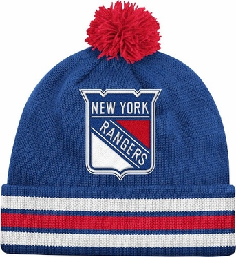 New York Rangers Vintage Jersey Stripe Cuffed Knit Hat w/ Pom