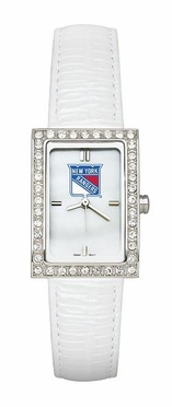 New York Rangers Women's White Leather Strap Allure Watch