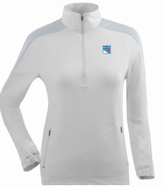 New York Rangers Womens Succeed 1/4 Zip Performance Pullover (Color: White)