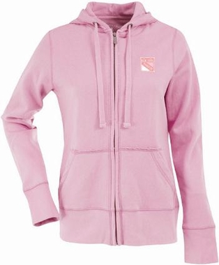 New York Rangers Womens Zip Front Hoody Sweatshirt (Color: Pink)