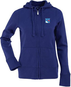 New York Rangers Womens Zip Front Hoody Sweatshirt (Team Color: Royal) - Large