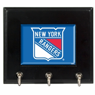 New York Rangers Wooden Keyhook Rack
