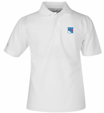 New York Rangers YOUTH Unisex Pique Polo Shirt (Color: White)