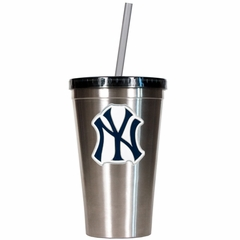New York Yankees 16oz Stainless Steel Insulated Tumbler with Straw