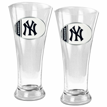 New York Yankees 2 Piece Pilsner Glass Set