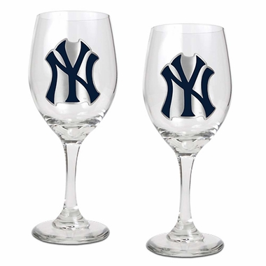 New York Yankees 2 Piece Wine Glass Set