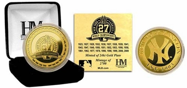 New York Yankees NY Yankees 27 World Series Titles 24KT Gold Coin