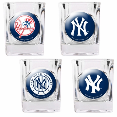 New York Yankees 4 Piece Assorted Shot Glass Set