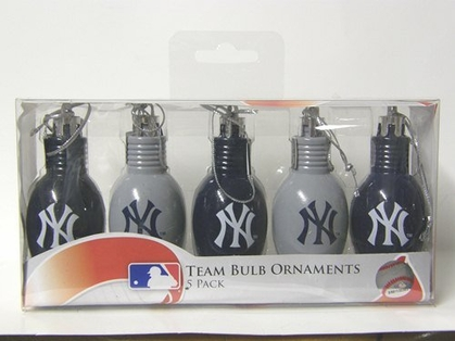New York Yankees 5 Pack Bulb Ornaments