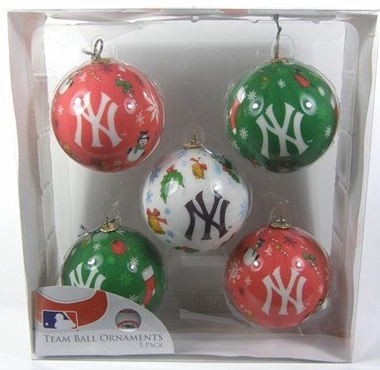 New York Yankees 5 Pack Decoupage Ball Ornament Set