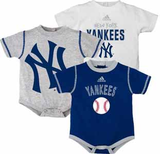 New York Yankees Adidas 3 Pack Bodysuit Creeper Set - 12 Months