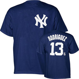 New York Yankees Alex Rodriguez YOUTH Name and Number T-Shirt - Medium