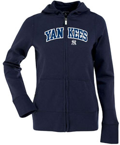 New York Yankees Applique Womens Zip Front Hoody Sweatshirt (Color: Navy) - Small