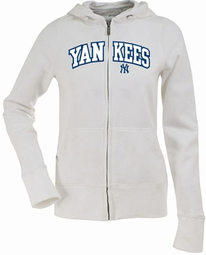 New York Yankees Applique Womens Zip Front Hoody Sweatshirt (Color: White)
