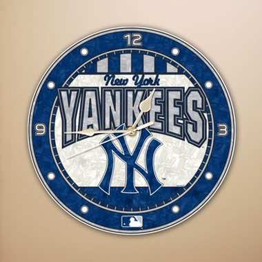 New York Yankees Art Glass Clock