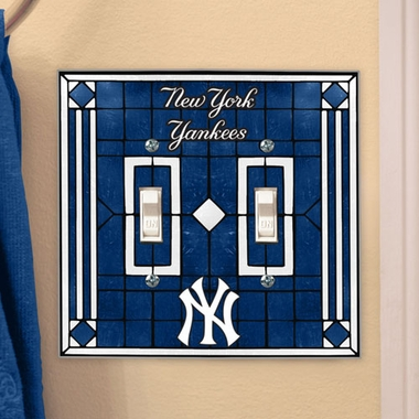 New York Yankees Art Glass Lightswitch Cover (Double)