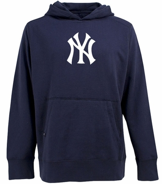 New York Yankees Big Logo Mens Signature Hooded Sweatshirt (Team Color: Navy)