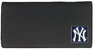 New York Yankees Black Leather Checkbook Cover (F)